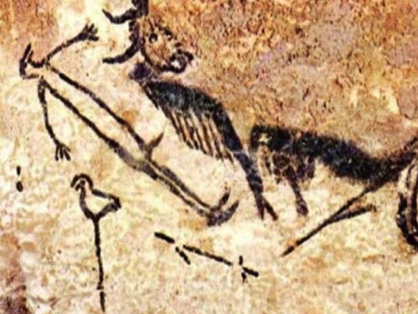 L'Homme-oiseau dessiné sur les parois de la grotte de Lascaux